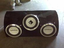 custom built box and custom painted woofers