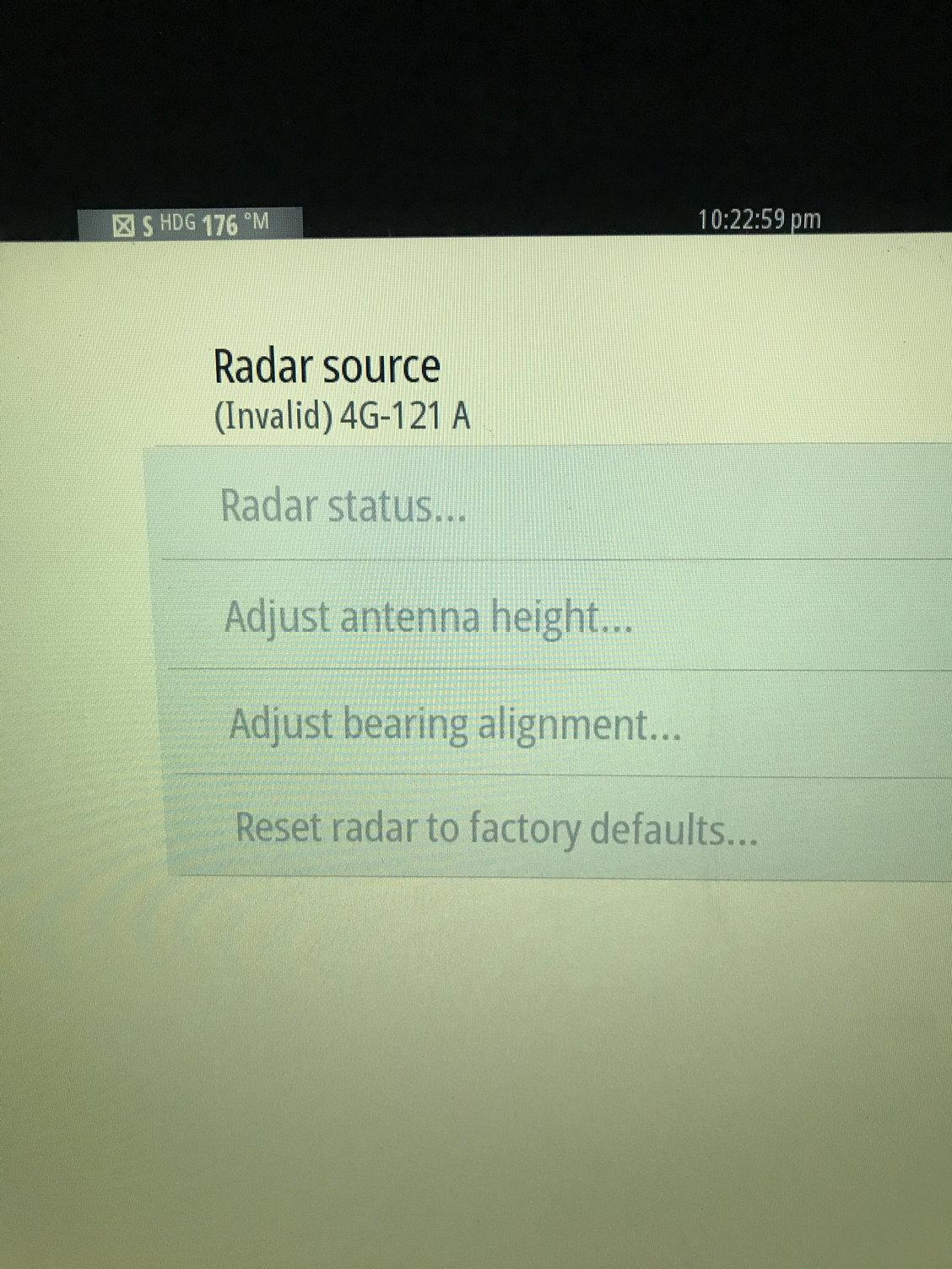 need help Simrad 4G Radar unknown radar scanner error - The