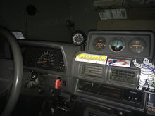 Pic of aftermarket early Montero clinometer/aux gauges I found in a junk yard for $20. the volt and oil pressure gauge work, but are pretty slow unresponsive gauges. I found a bspt t fitting to keep the idiot light on the dash too. Most people think it's stock.