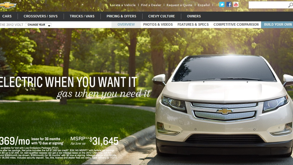 2012 Chevrolet Volt - net pricing shown on Chevy website