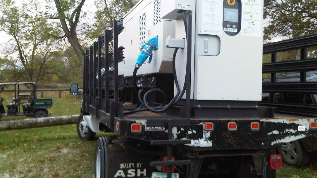 Portable diesel-powered 440-Volt quick charger for Nissan Leaf electric cars