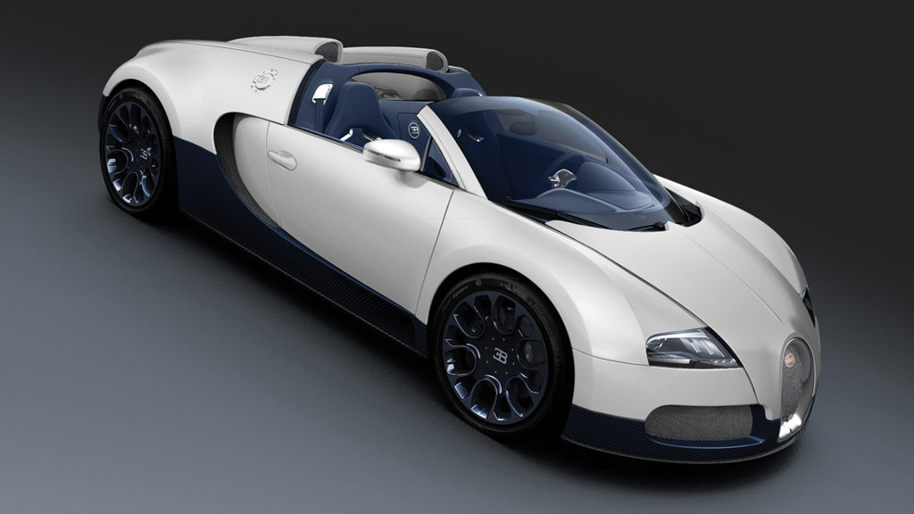 Bugatti Veyron Grand Sport White Matte Blue Carbon edition