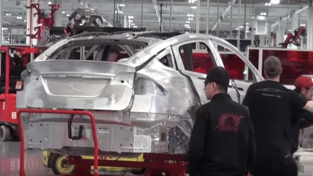Scene from Tesla Model X production video
