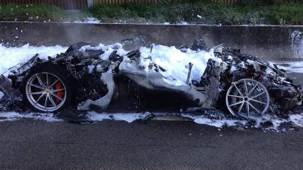 Ferrari F12 tdf that succumbed to fire near Neuwied, Germany - Image via Feuerwehr/DRK