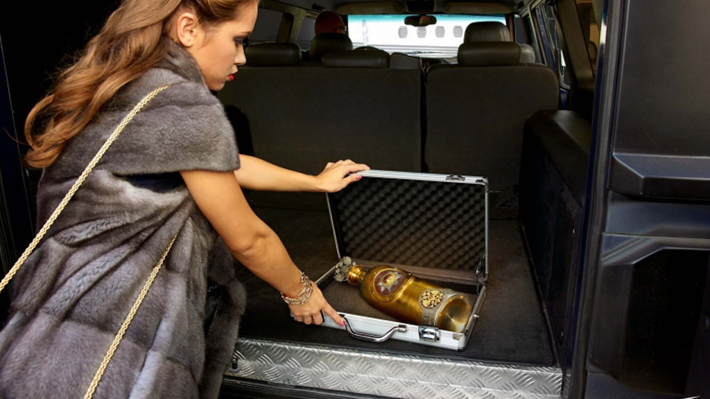 "$1.3 million bottle of RussoBaltique vodka by Dartz transported by ""virgin guards"""