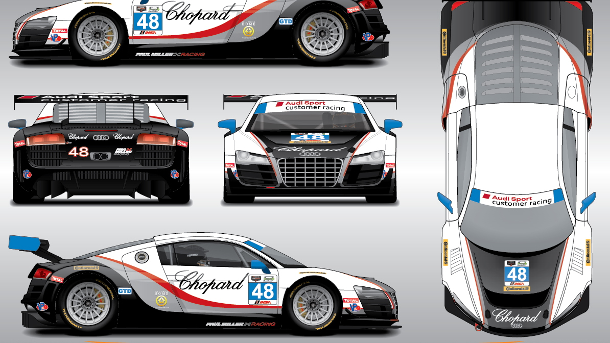 Paul Miller Racing Audi R8 LMS GTD livery for the 2014 Rolex 24 Hours of Daytona