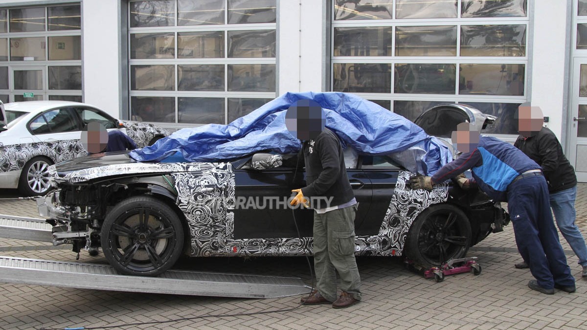 2012 BMW M6 spy shots -- crash damage on the 'Ring
