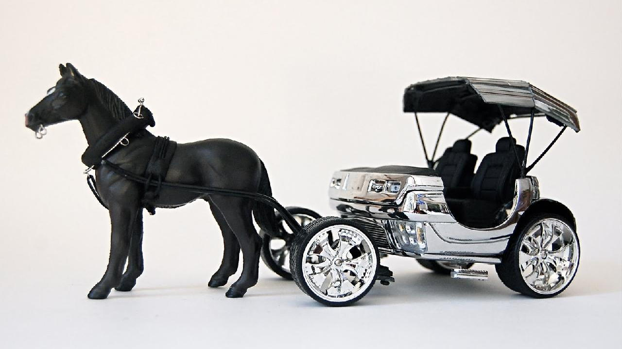 "Model of Cadillac Escalade horse carriage by artist Jeremy Dean for his work, ""Back to the Futurama"""