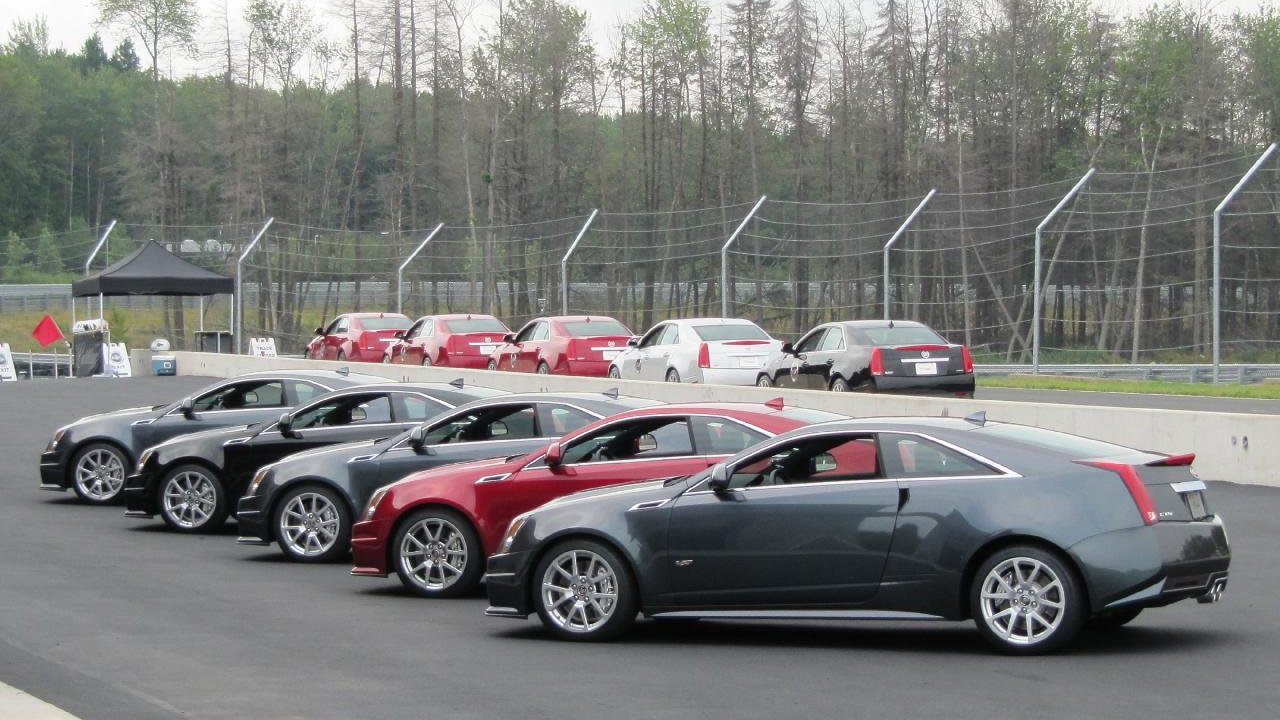 Row of 2011 Cadillac CTS-V Coupes at Monticello Motor Club