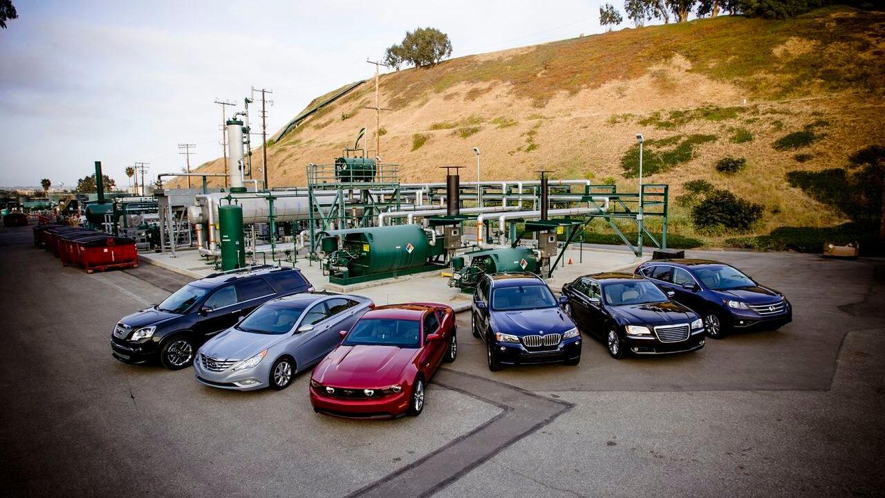 Natural-gas vehicle prototypes, Los Angeles, May 2013 - group shot at Playa del Rey storage field