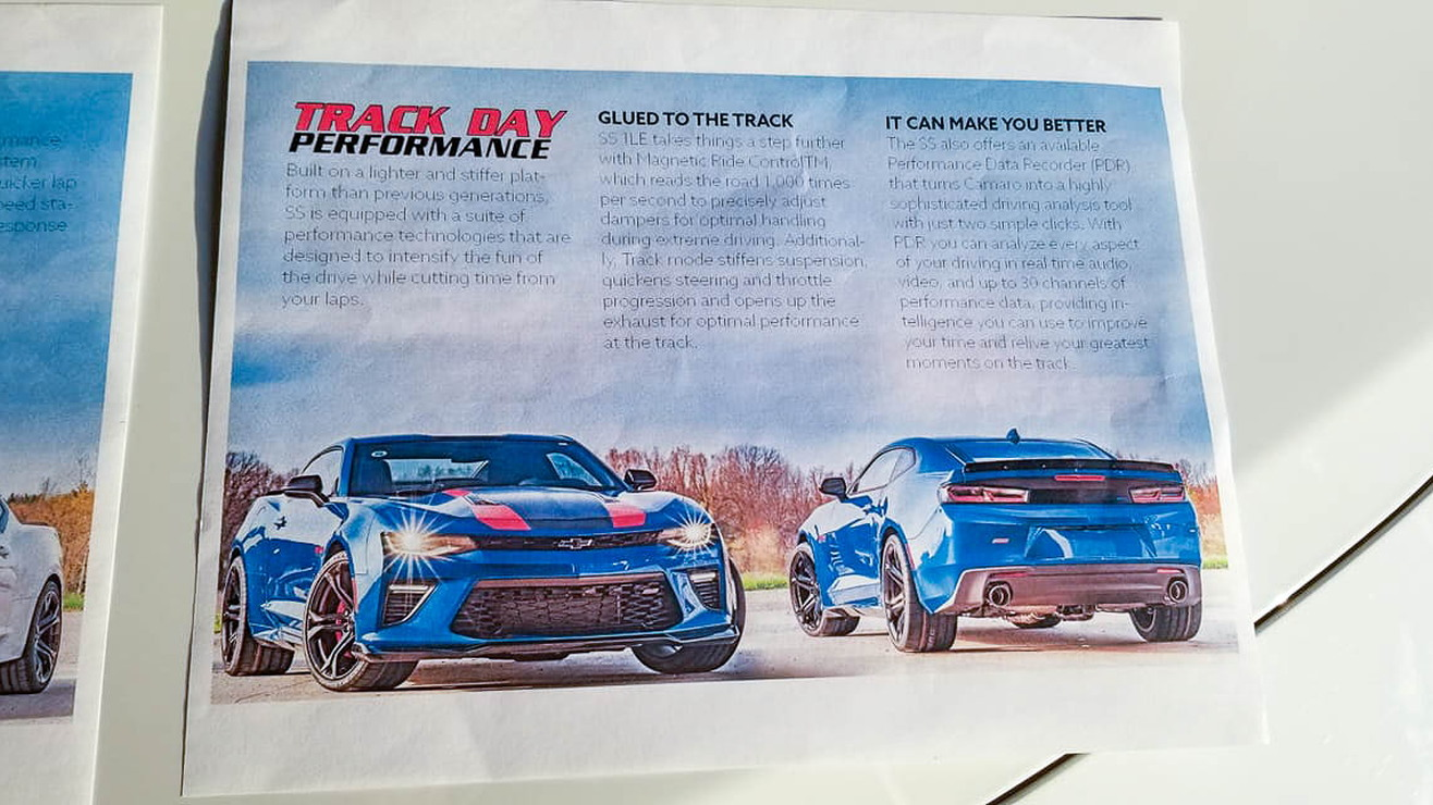 2017 Track Day Performance Camaro marketing materials
