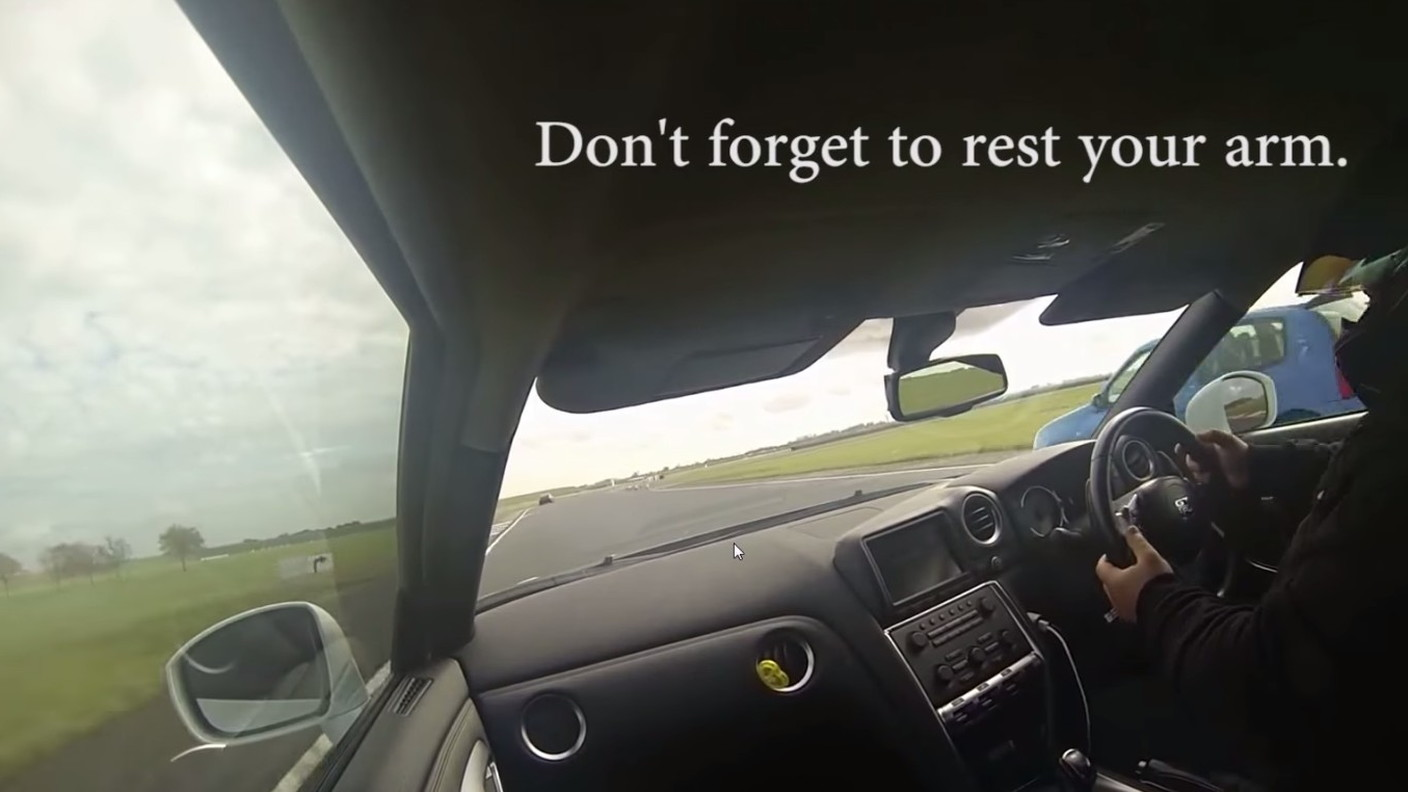 Terrible Nissan GT-R driver exhibits a glossary or poor skills