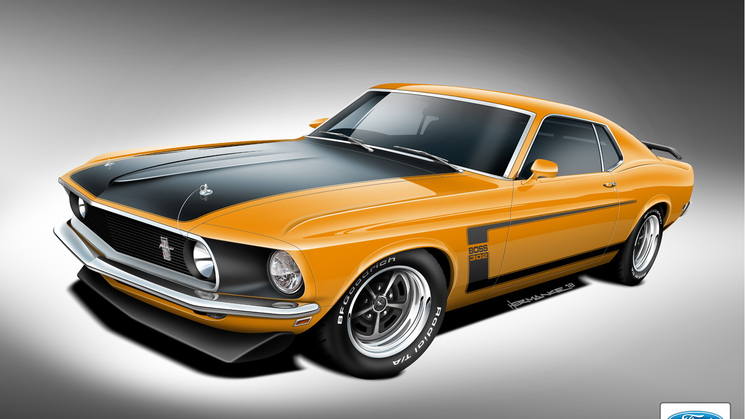 Teaser sketch for Classic Recreations 1969-1970 Ford Mustang Boss 302
