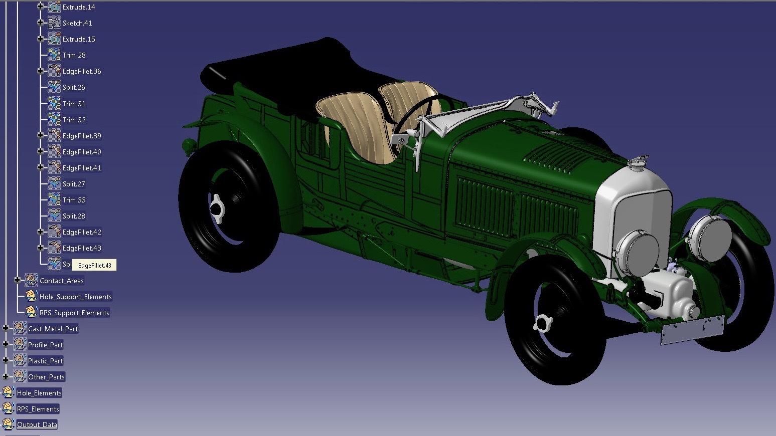 1929 Bentley Team Blower CAD model
