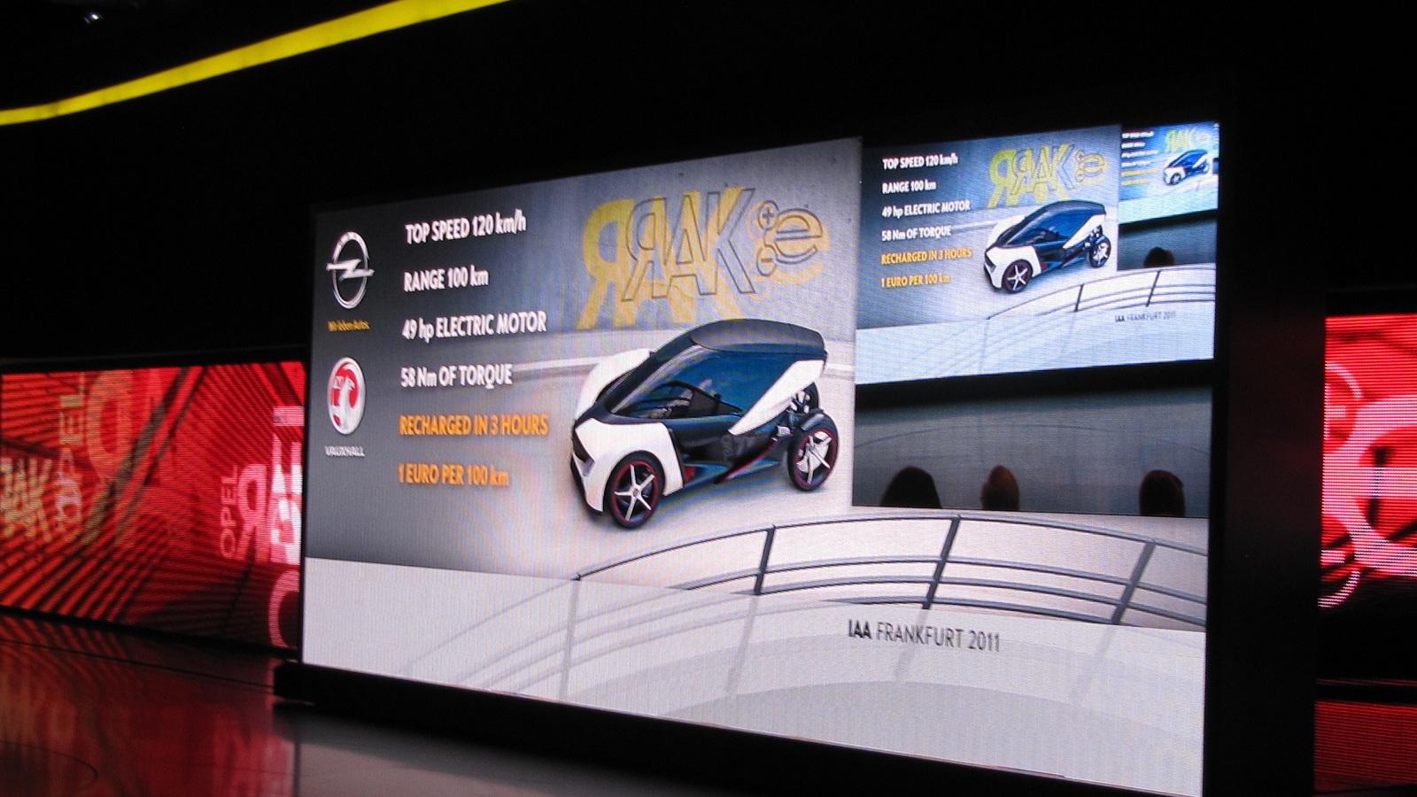 Opel Rak E concept car, Frankfurt Motor Show, September 2011