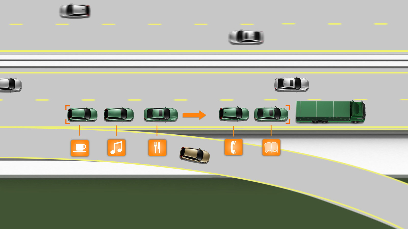 SARTRE self-driving cars during testing
