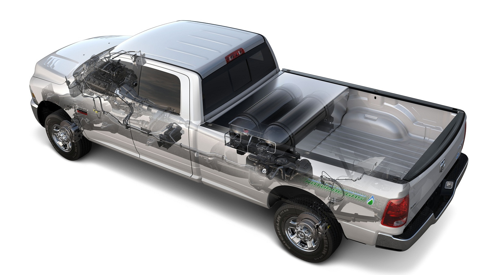 2013 Ram 2500 HD CNG pickup truck - natural-gas fuel system shown with engine