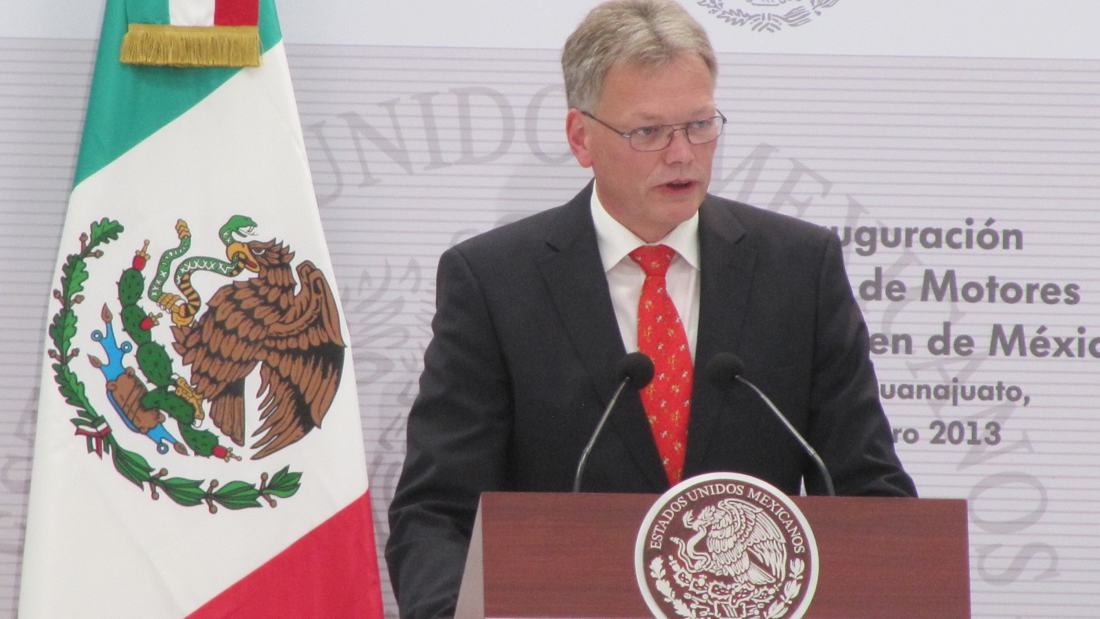 Andreas Hinrichs, CEO of VW de Mexico, speaks at opening of Volkswagen engine plant, Silao, Mexico