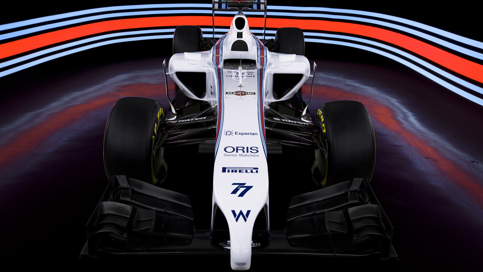 Williams's FW36 2014 Formula One car in Martini Racing livery