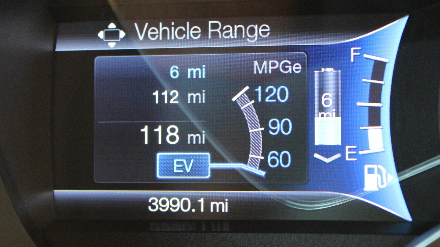 Vehicle Range display  -  Ford EcoGuide gauge cluster  -  2013 Ford C-Max Energi