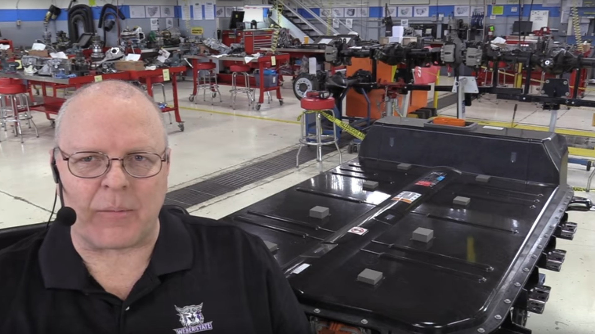 Professor John Kelly of Weber State University, Utah, shown before Chevy Bolt EV battery disassembly