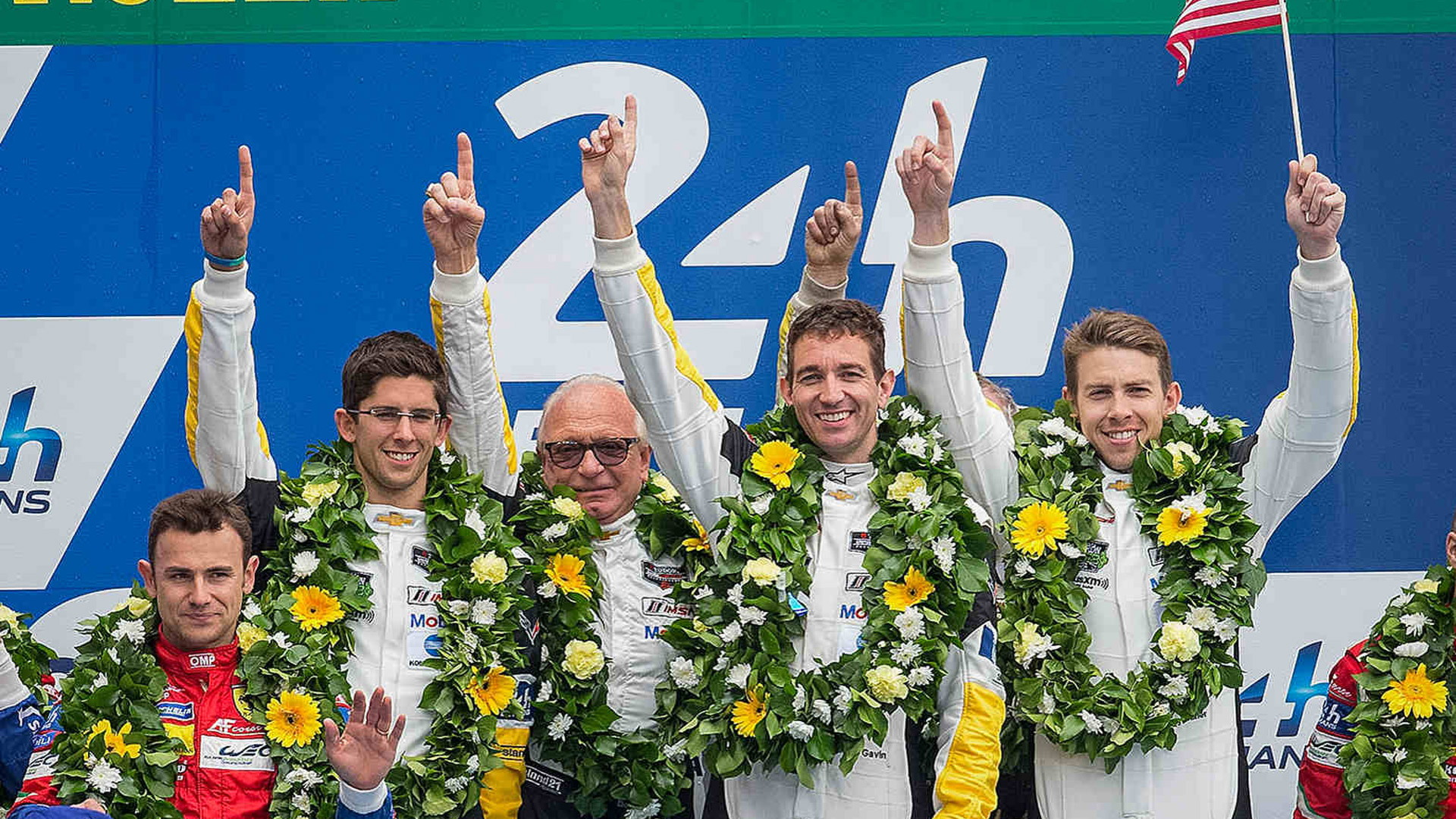From left to right: Oliver Gavin, Tommy Milner & Jordan Taylor after 24 Hours of Le Mans class win
