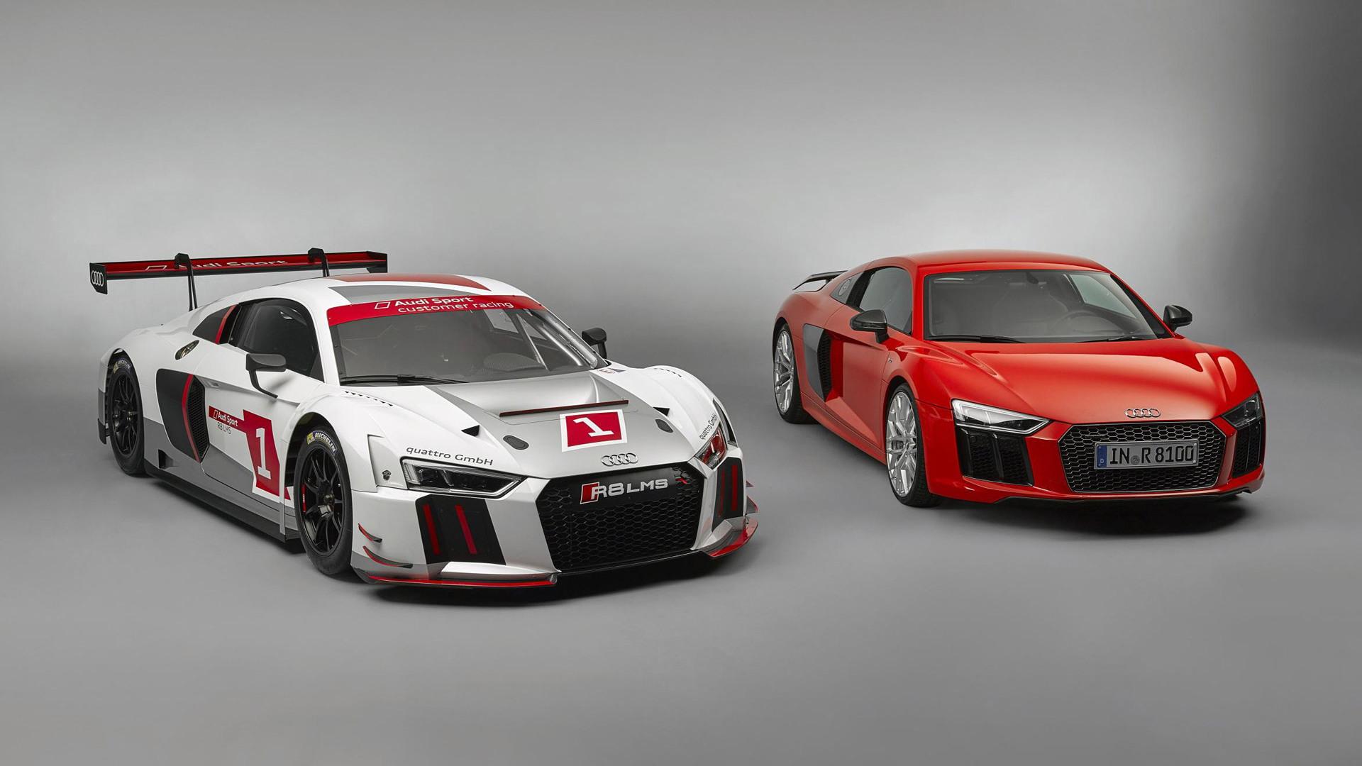 2016 Audi R8 LMS race car and 2017 R8