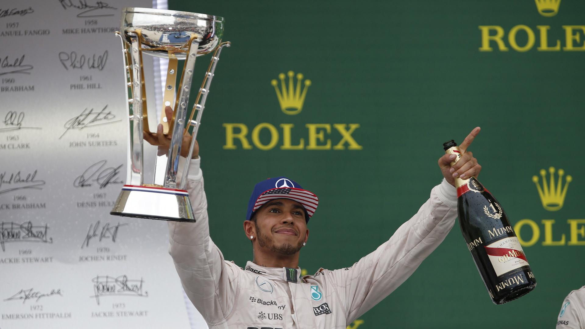 Mercedes AMG's Lewis Hamilton at the 2015 Formula One United States Grand Prix