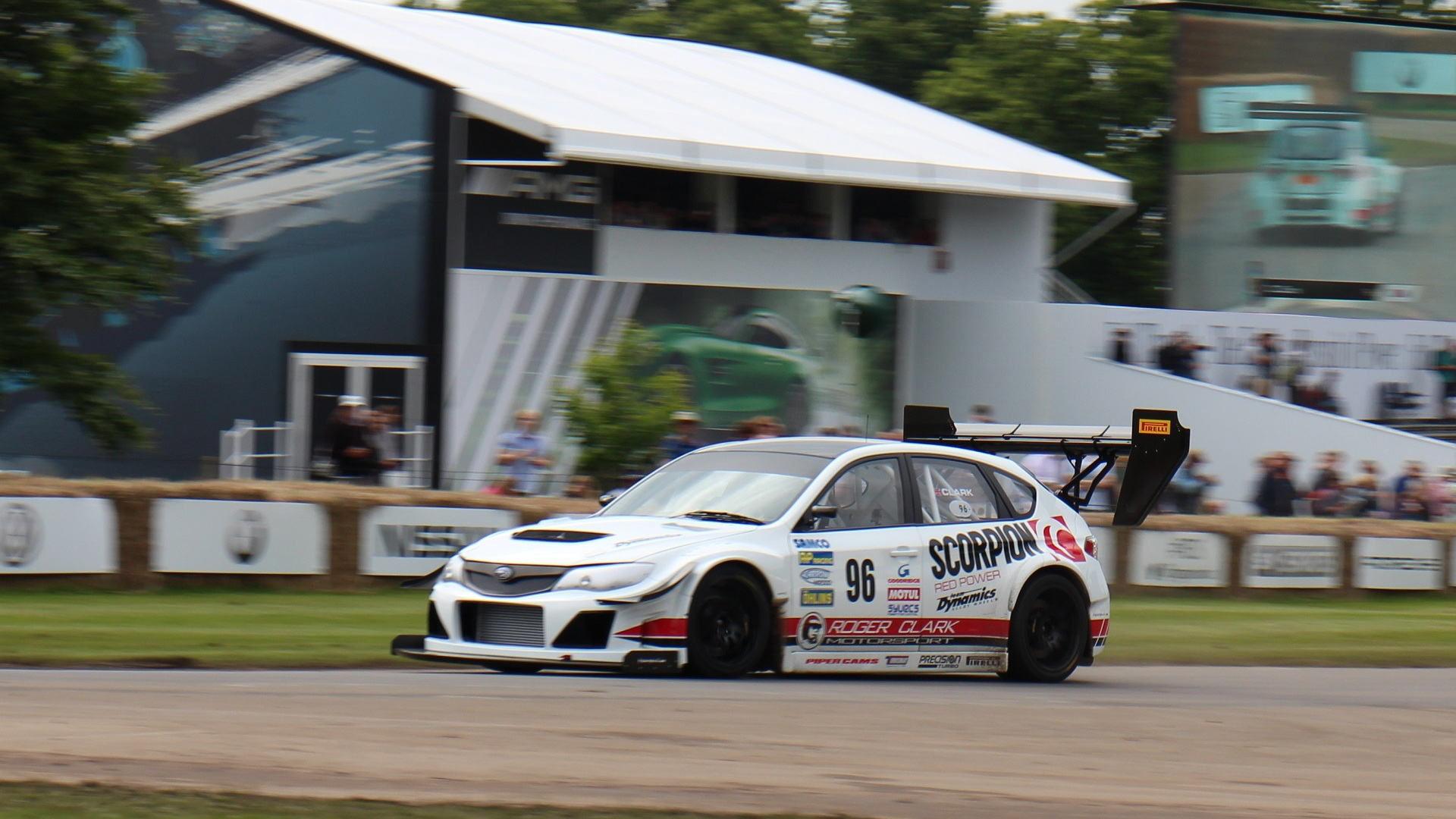 Subaru Impreza Gobstopper II Time Attack car, driver Olly Clark, at 2016 Goodwood Festival of Speed
