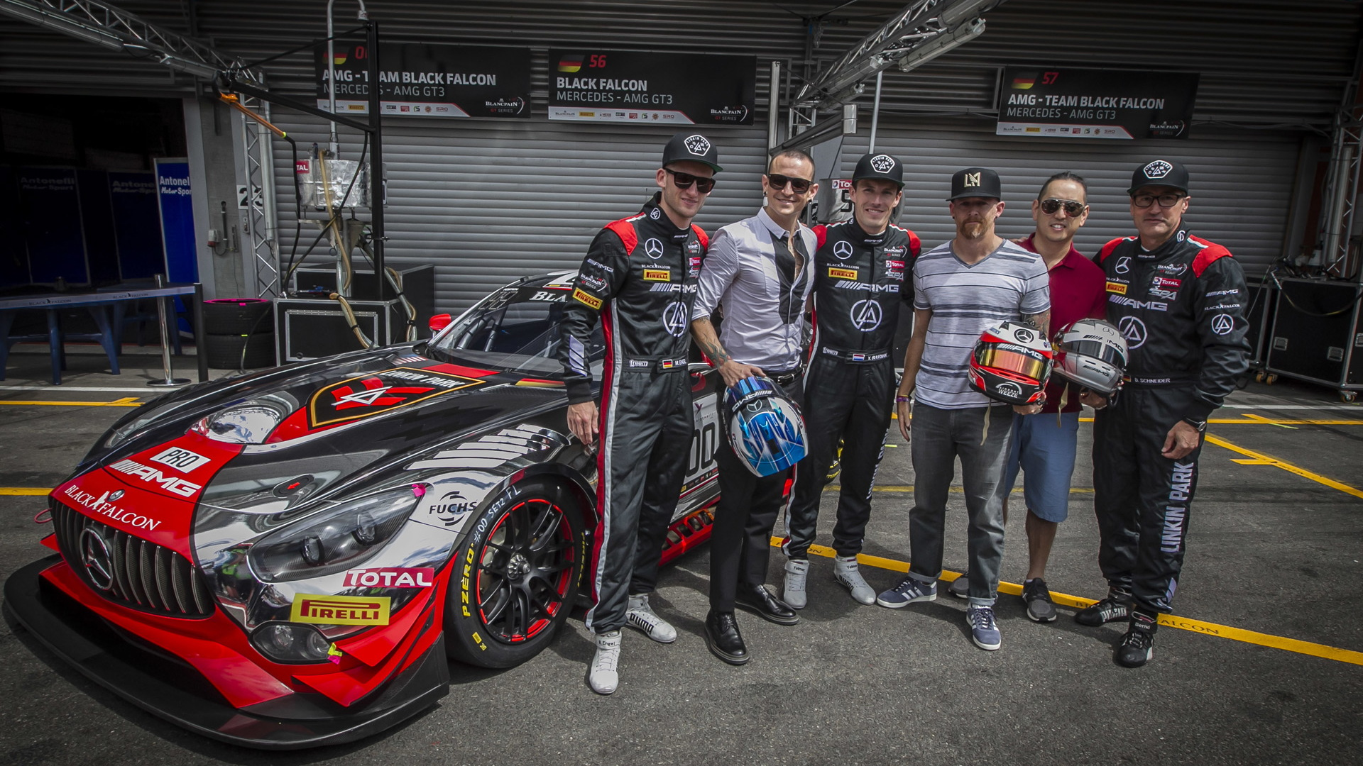Linkin Park with the 2016 Mercedes-AMG GT3 they helped design, 2016 Spa 24 Hours