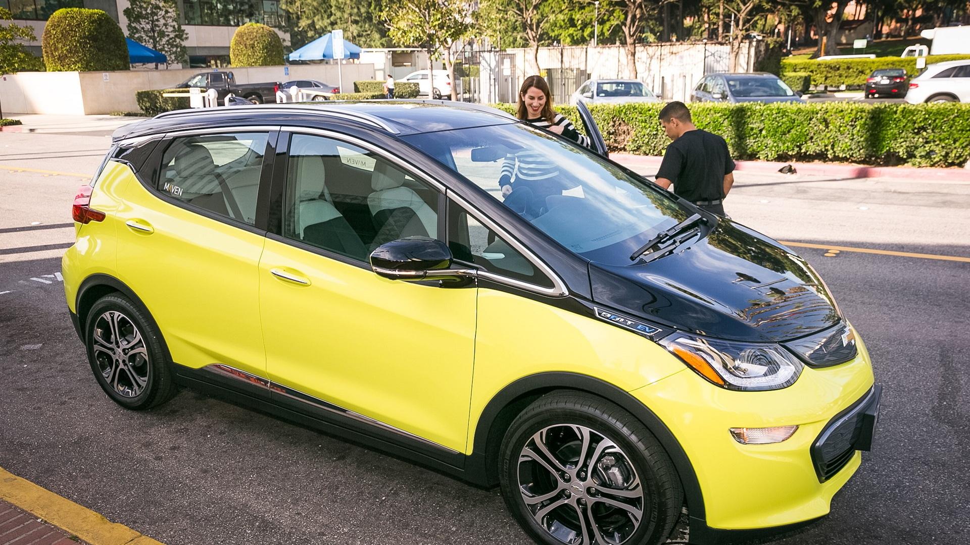 2017 Chevrolet Bolt EV electric car in Maven car-sharing fleet, Los Angeles [photo: Dan MacMedan fo