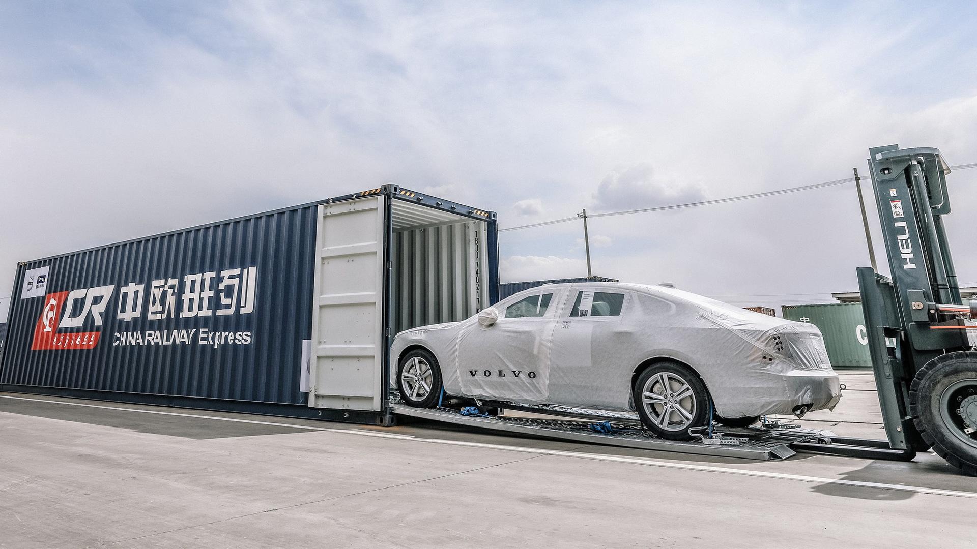 Volvo S90 sedans being transported via One Belt, One Road
