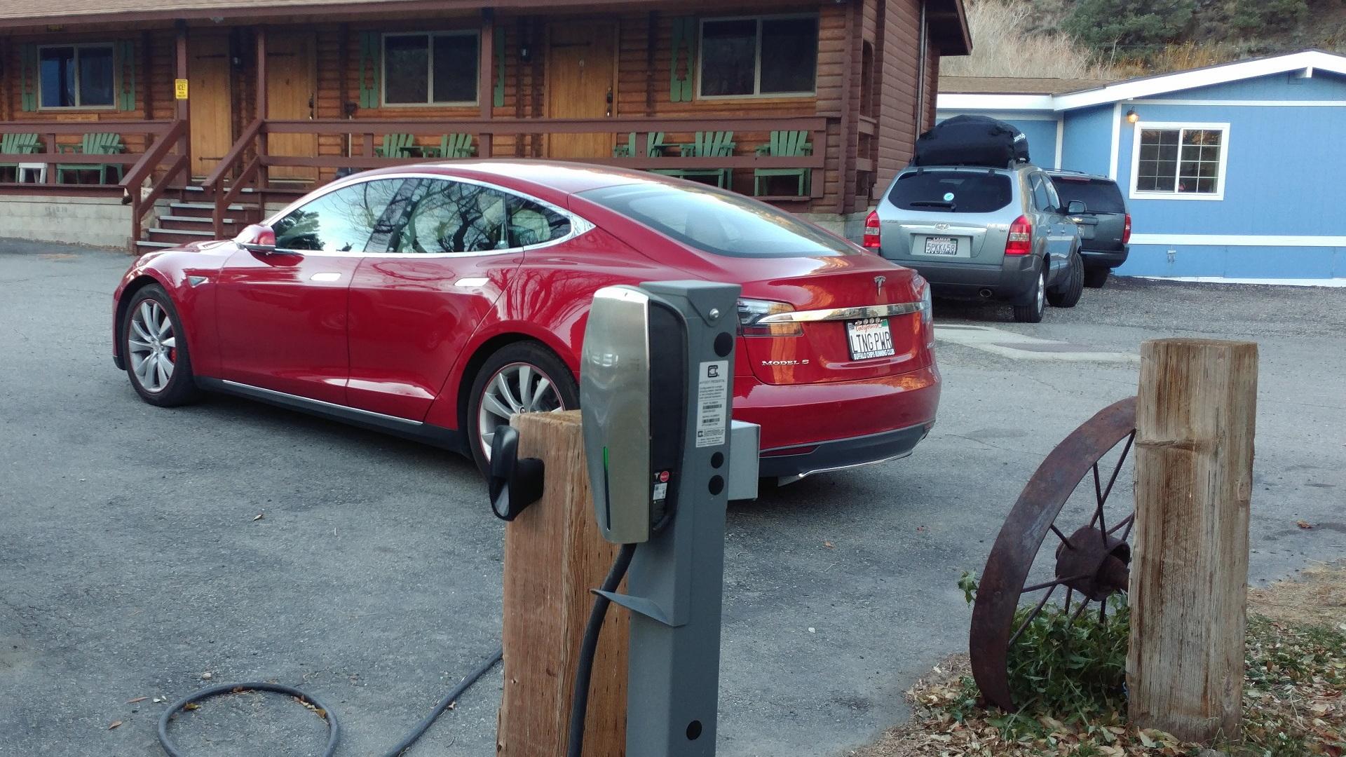 Tesla destination charging station in Bodie, California    [photo: George Parrott]