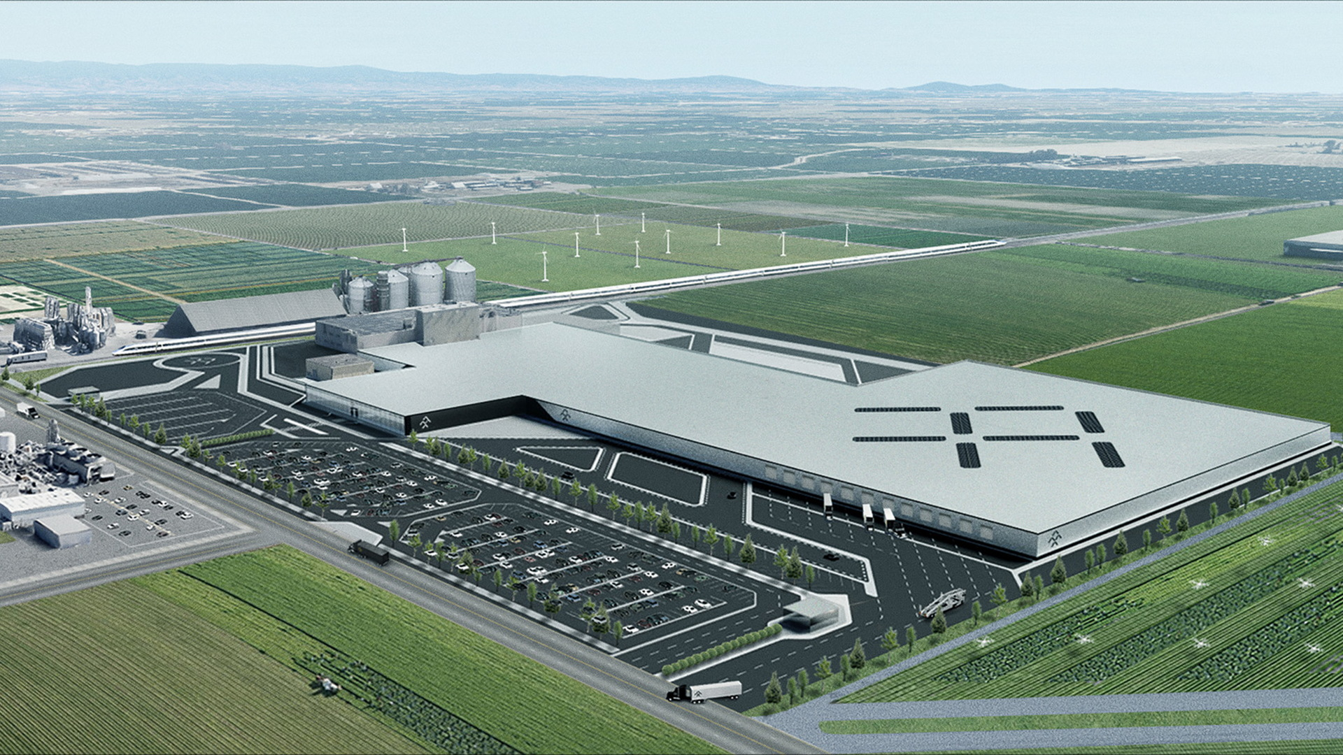 Artist's impression of Faraday Future's proposed plant in Hanford, California