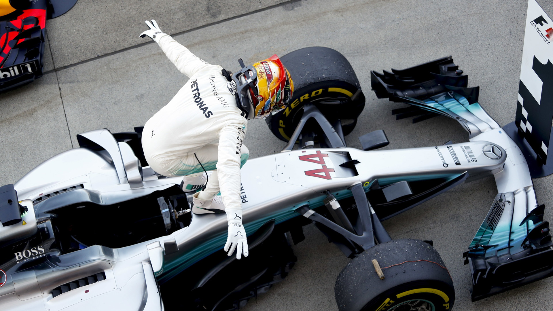 Mercedes-AMG's Lewis Hamilton after winning the 2017 Formula 1 Japanese Grand Prix