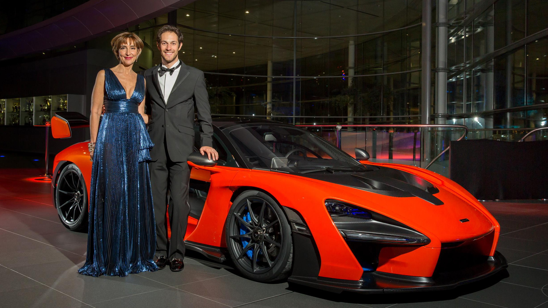 Viviane Senna da Silva Lalli and Bruno Senna with the McLaren Senna