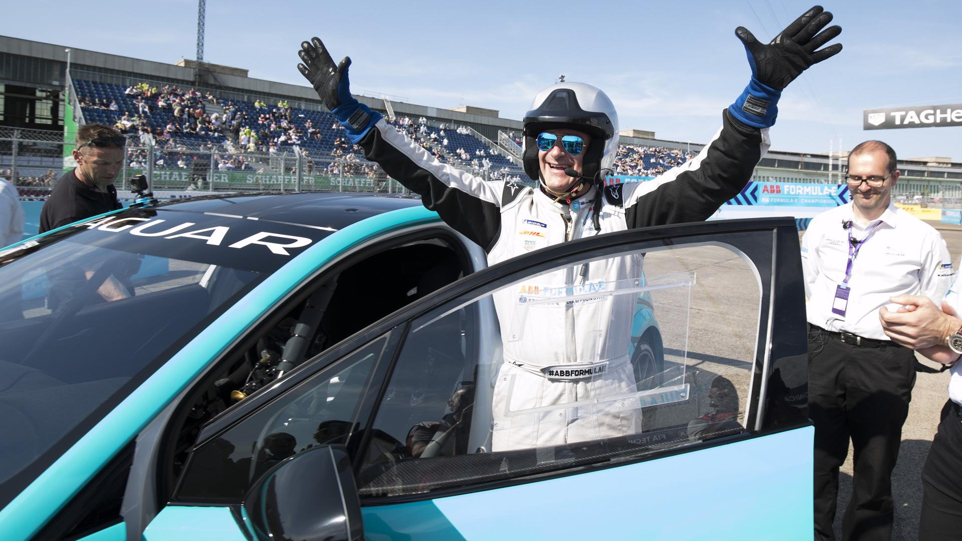 Jaguar I-Pace eTrophy race car dynamic debut during 2018 Formula E Berlin ePrix