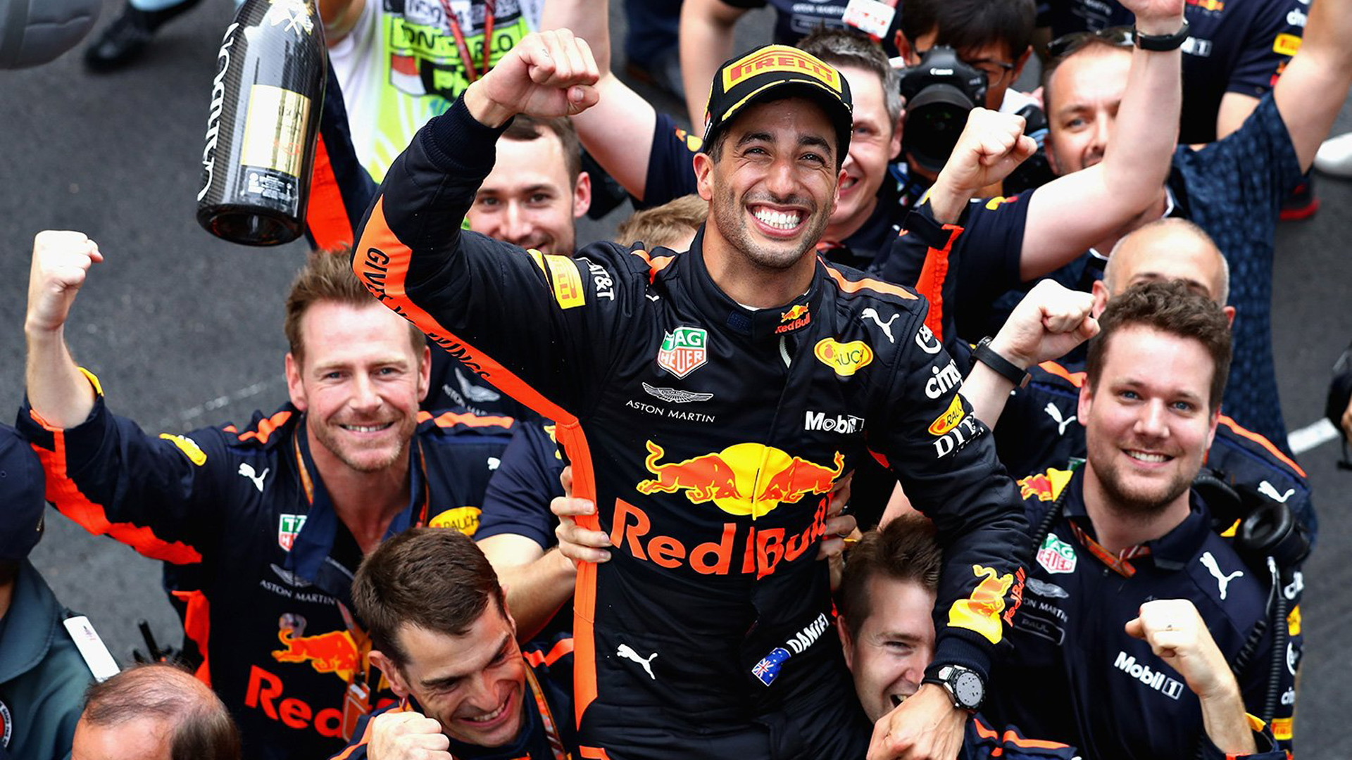 Daniel Ricciardo after winning the  2018 Formula 1 Monaco Grand Prix