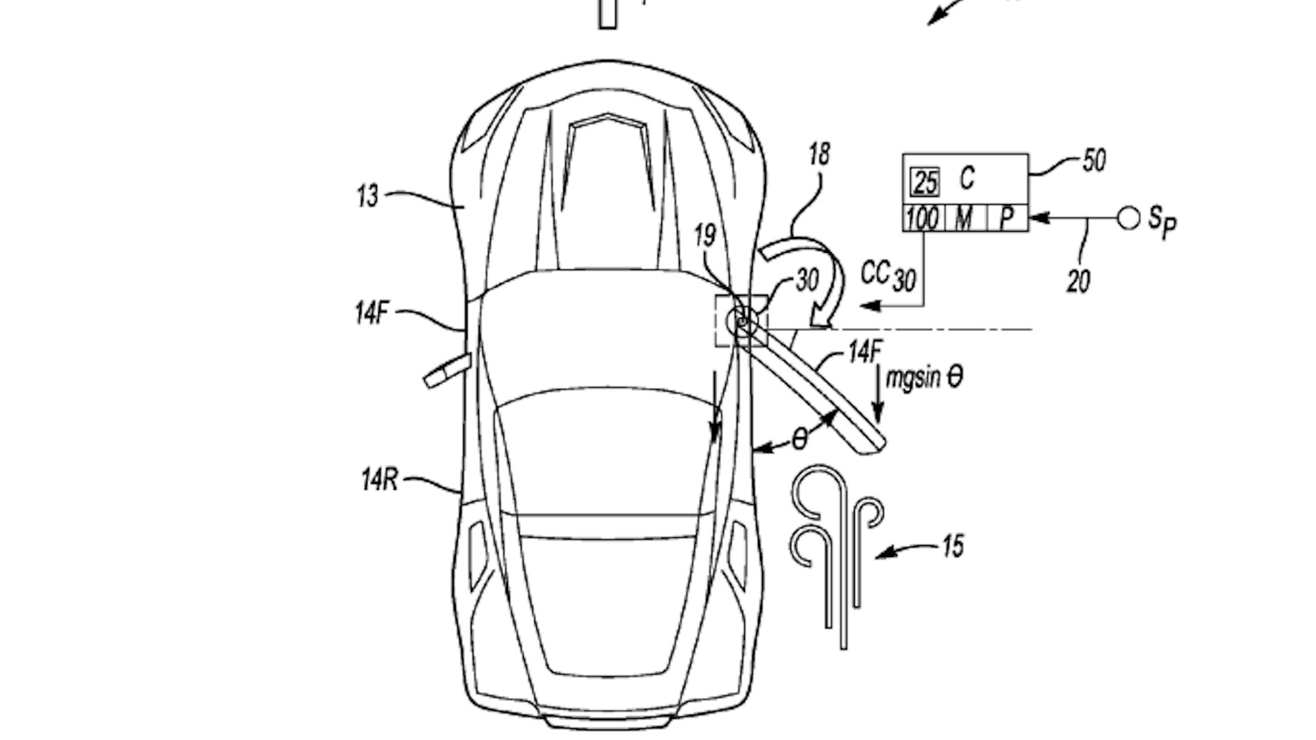 Mid-engine C8 Corvette power door patent