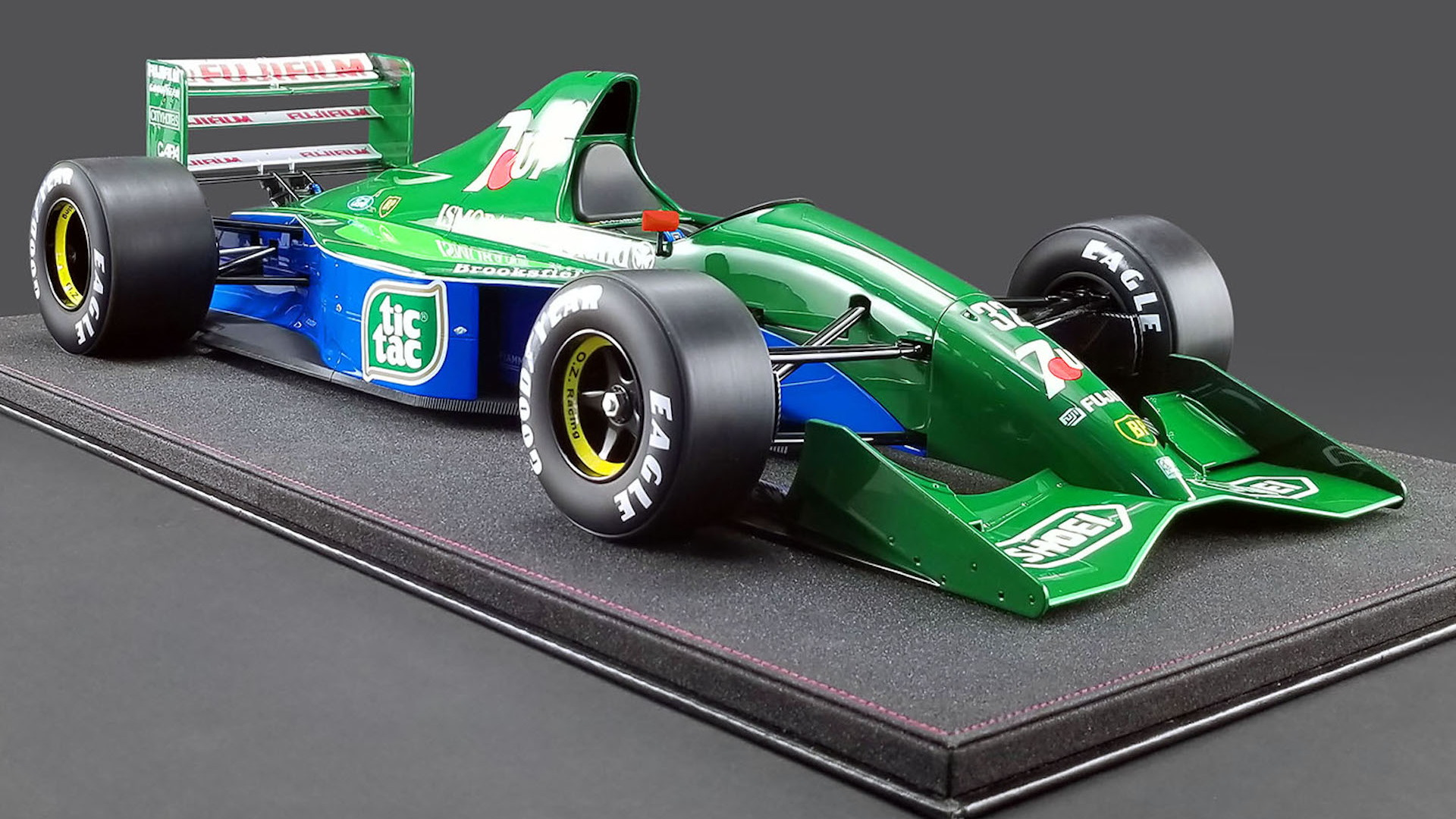 Model of Michael Schumacher's 1991 Jordan F1 car