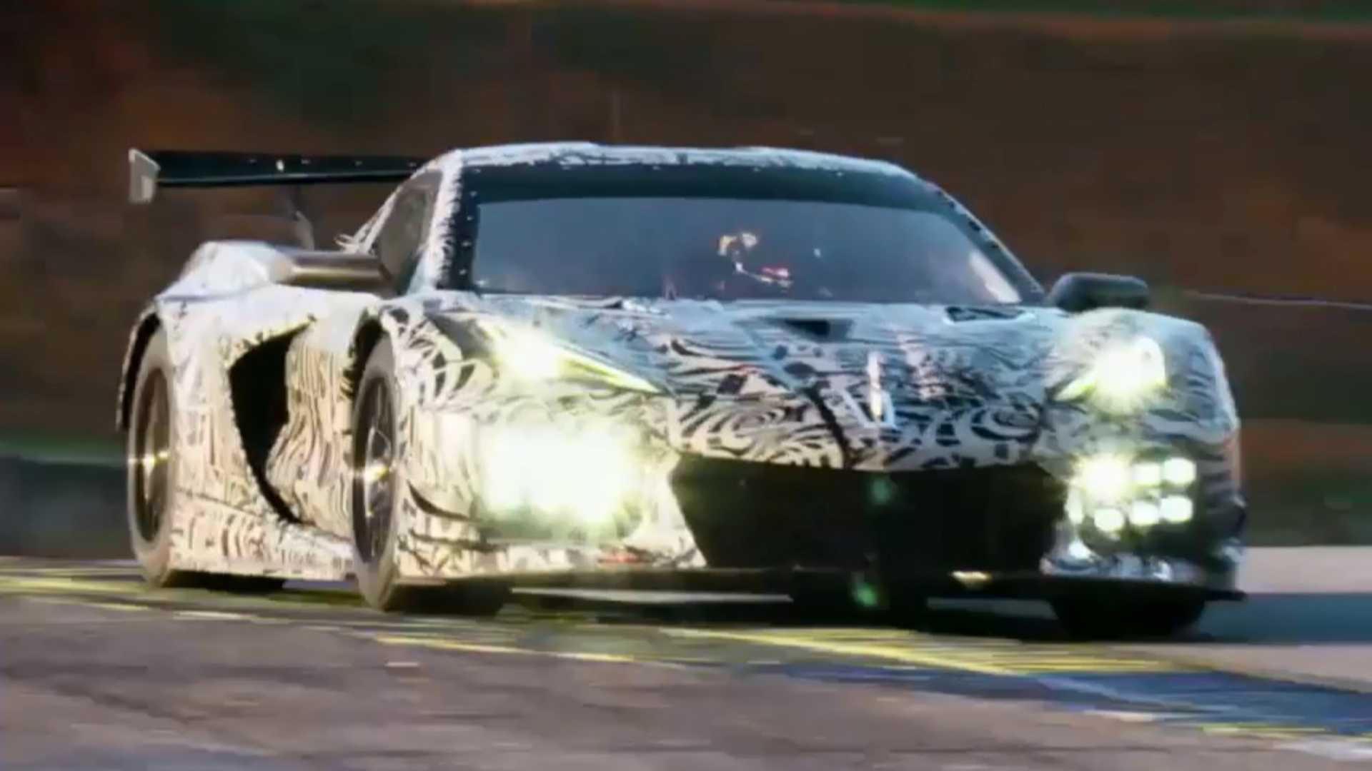 2020 Chevrolet Corvette C8.R roars in front of the camera