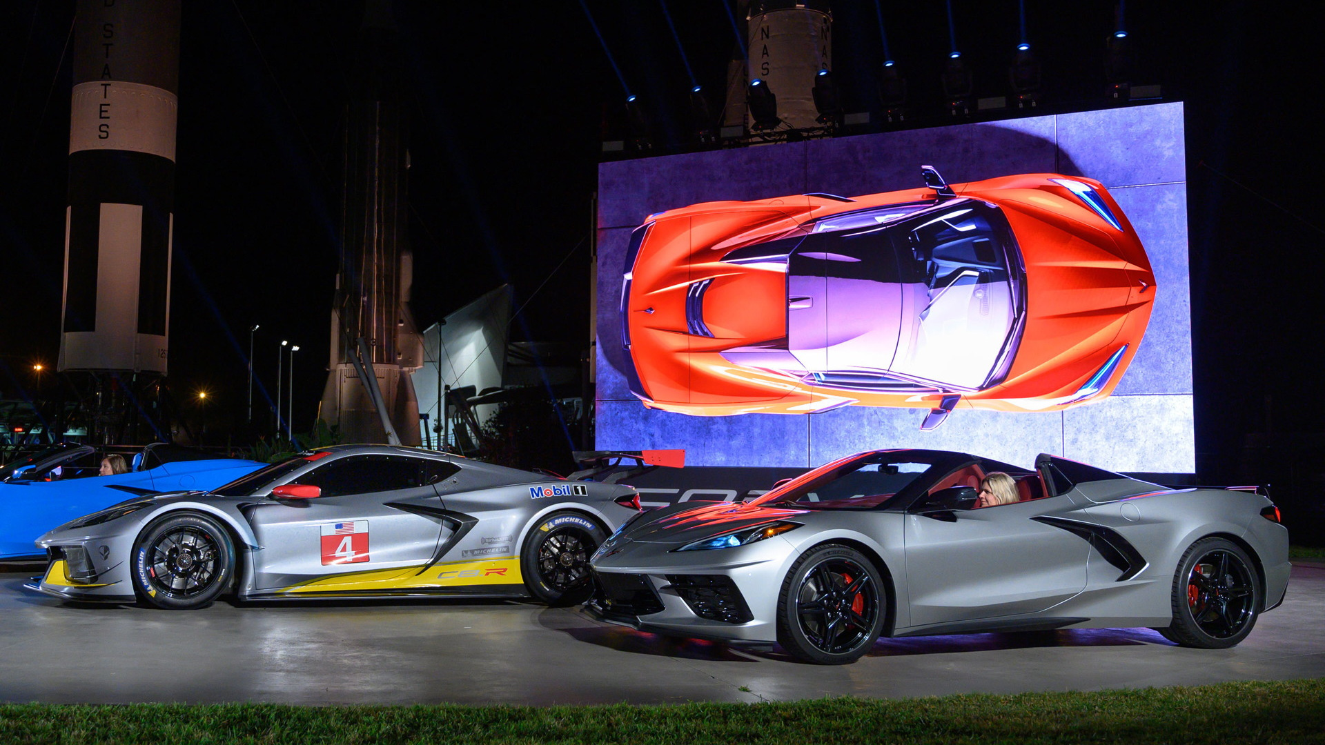 2020 Chevrolet Corvette C8.R race car and Corvette Stingray Convertible