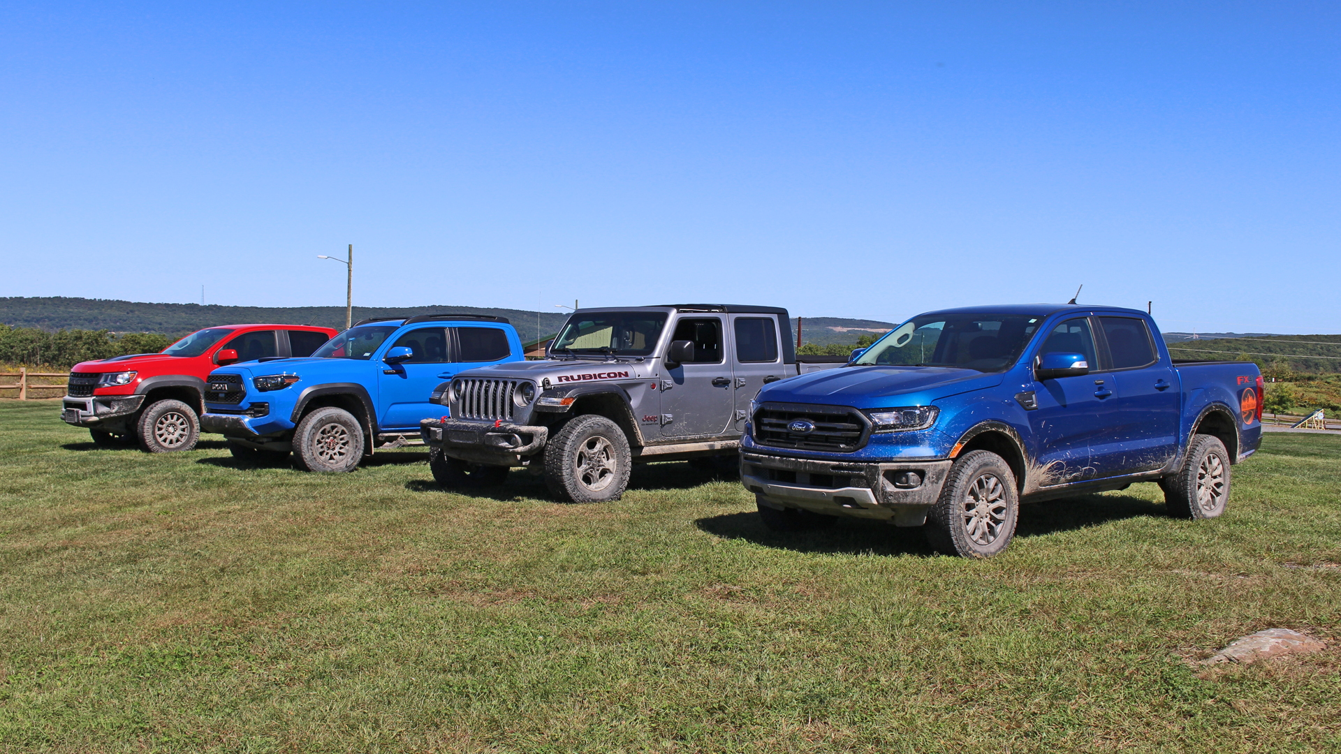 Ford Ranger FX4, Jeep Gladiator Rubicon, Toyota Tacoma TRD Pro and Chevrolet Colorado ZR2 Bison