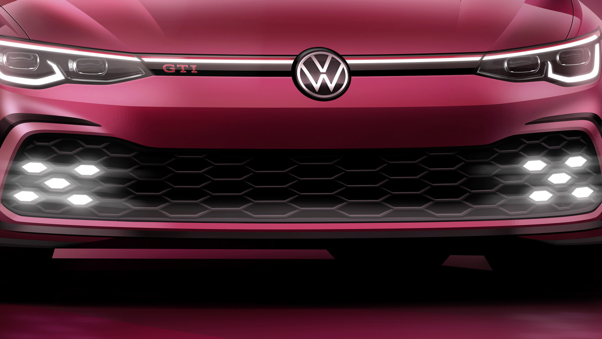 Teaser for 2021 Volkswagen Golf GTI debuting at 2020 Geneva auto show