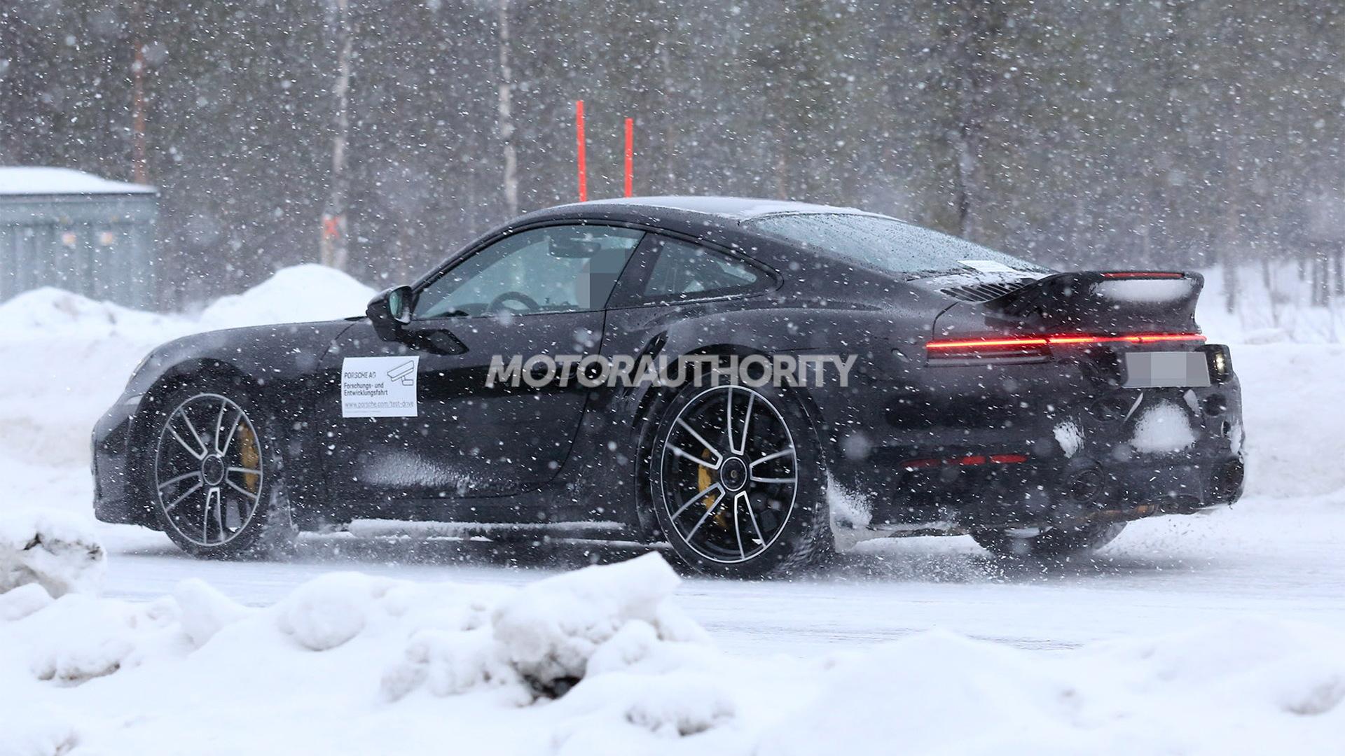 2021 Porsche 911 Turbo with ducktail spoiler spy shots - Photo credit:S. Baldauf/SB-Medien