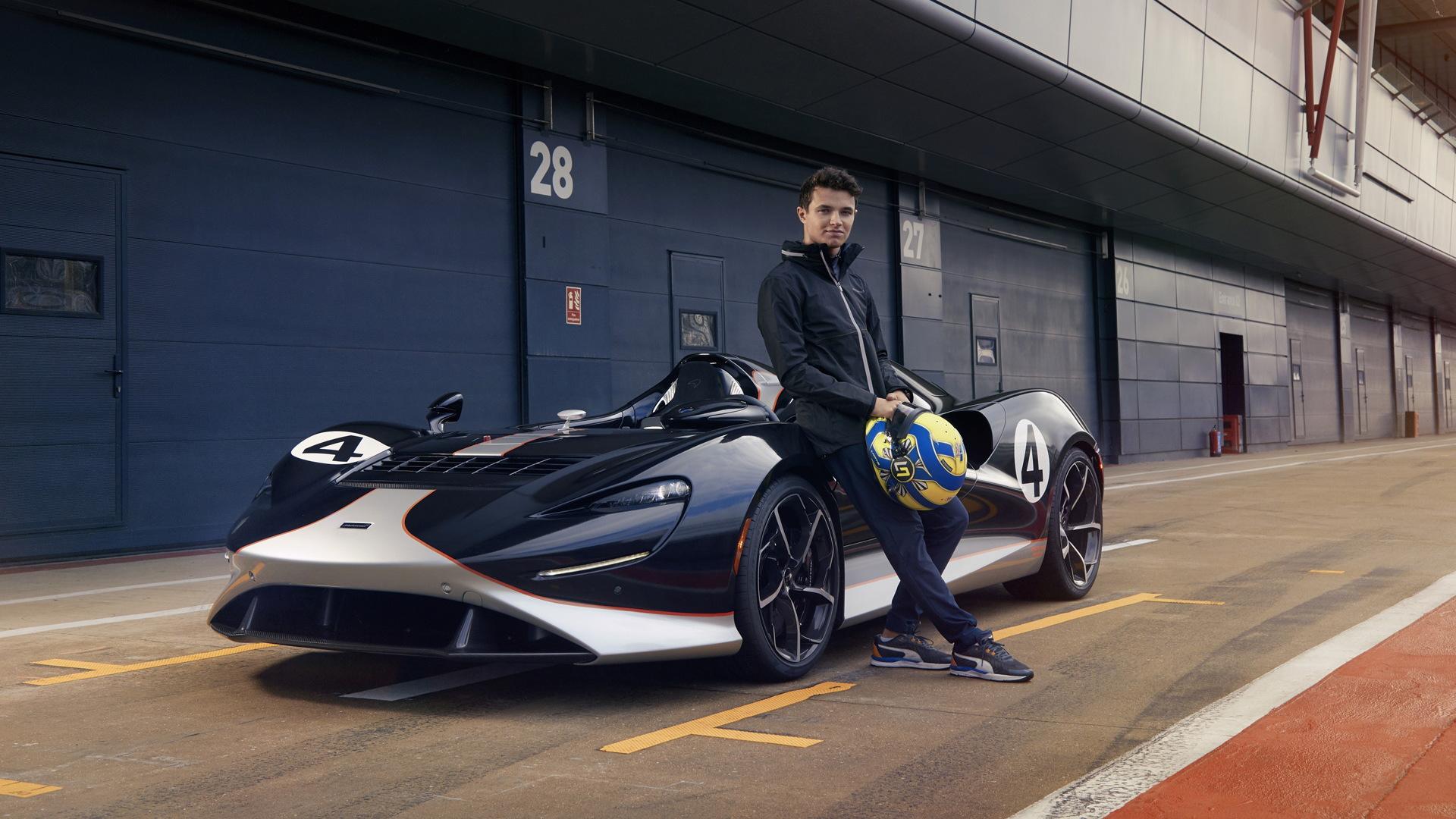 McLaren Formula One driver Lando Norris with the McLaren Elva speedster