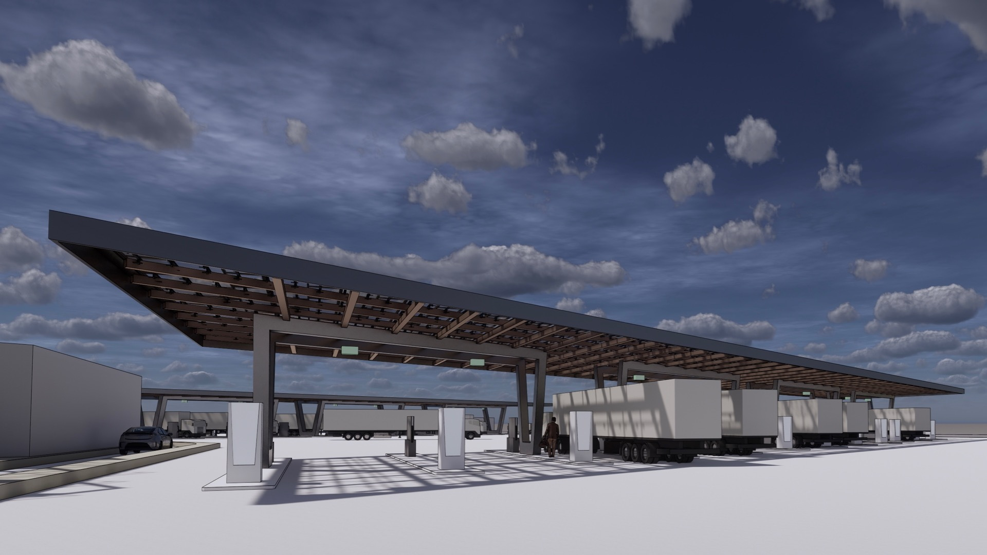 WattEV electric truck stop rendering