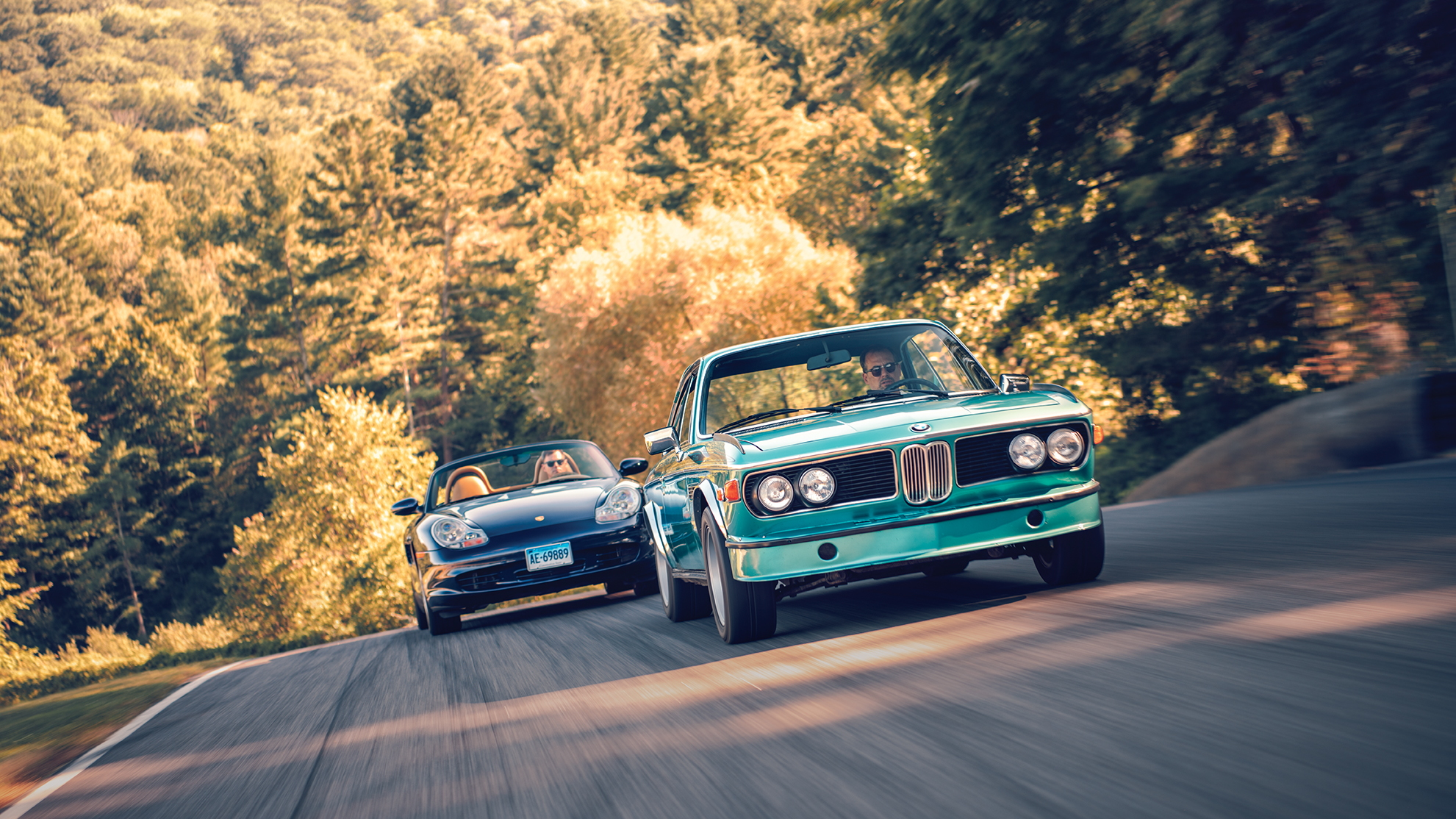 1973 BMW 3.0CSL and 2003 Porsche Boxster S, photo by DW Burnett