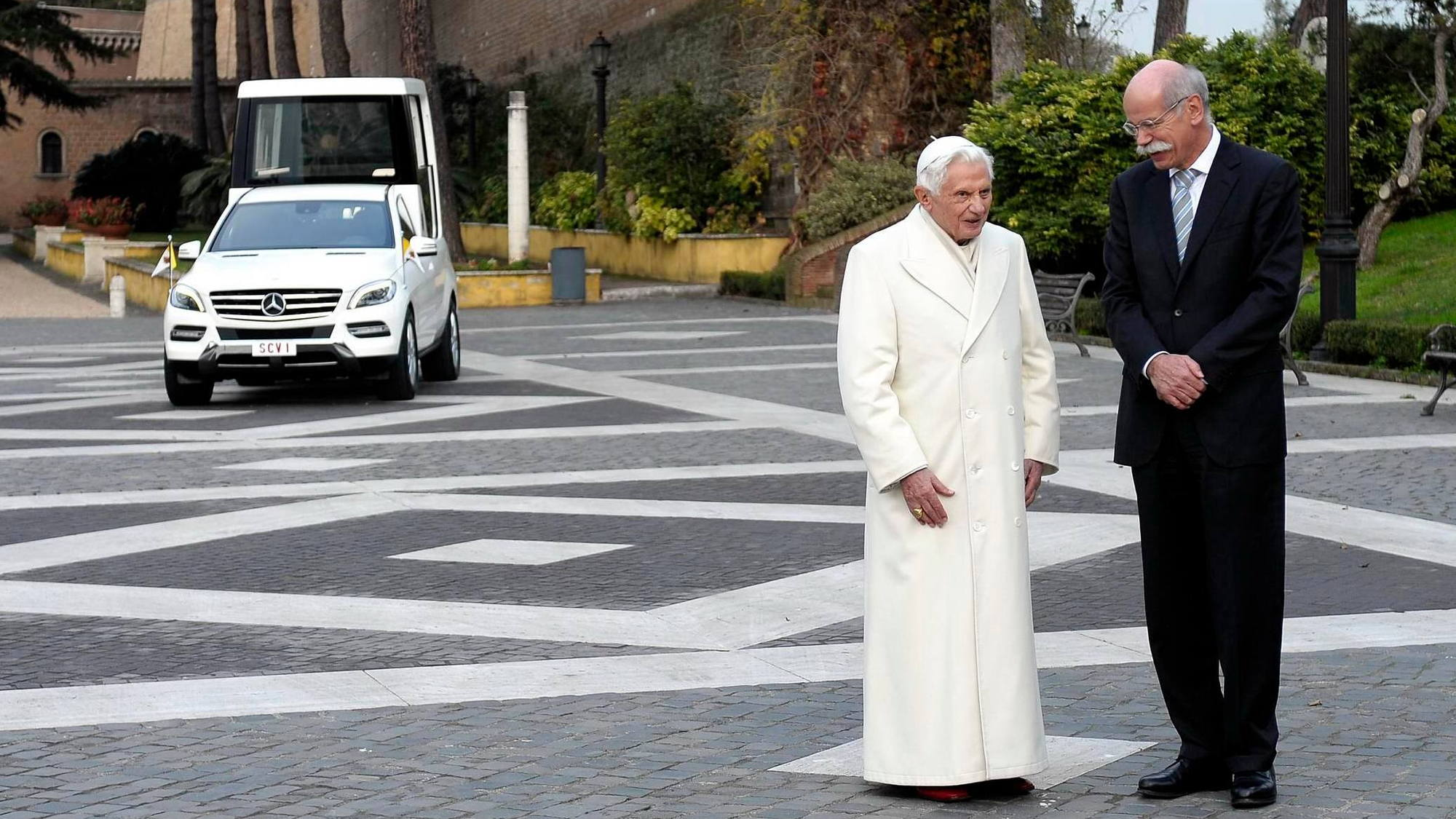 Pope Benedict XVI takes delivery of his new M Class Popemobile at the Vatican, December 2012