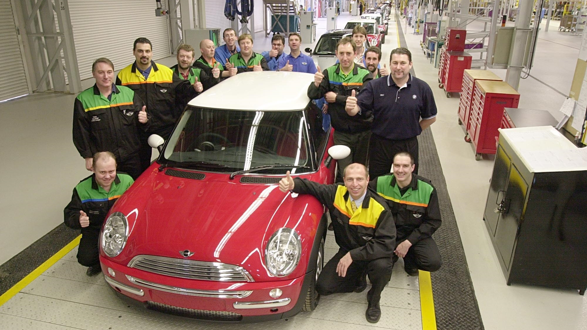 Modern-day MINI assembly at MINI Plant Oxford, England, Mar 2013 (the plant's 100th birthday)